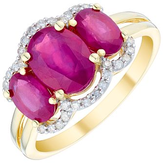 9ct Gold 3 Stone Treated Ruby & 0.12ct Diamond Halo Ring - Product number 4721519