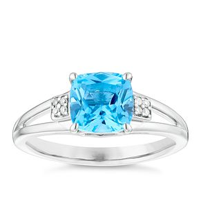 Sterling Silver Cushion Cut Blue Topaz & Diamond Set Ring - Product number 4721667