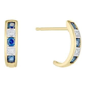 9ct Gold Sapphire & Diamond Half Hoop Earrings - Product number 4722485