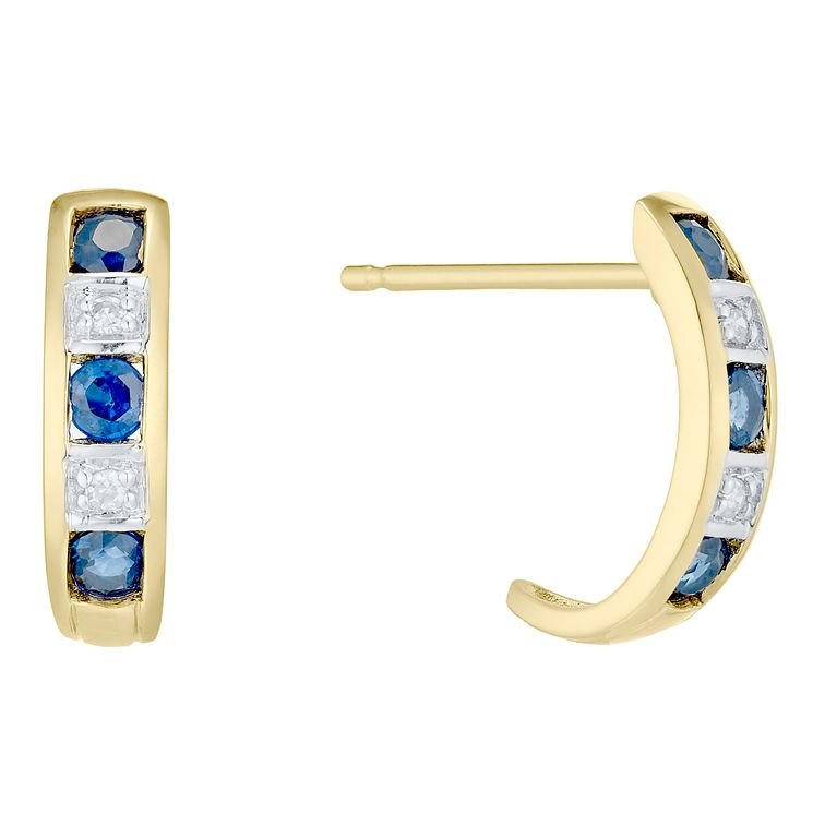 9ct Gold Sapphire & Diamond Half Hoop Earrings