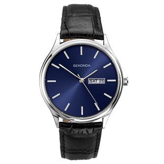 Sekonda Men's Blue Dial Black Leather Strap Watch - Product number 4725395