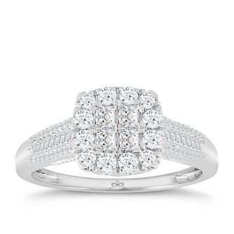 9ct White Gold 2/3 Carat Diamond Princessa Cluster Ring - Product number 4726030