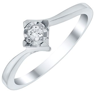 9ct White Gold Diamond Solitaire Illusion Set Ring - Product number 4727142