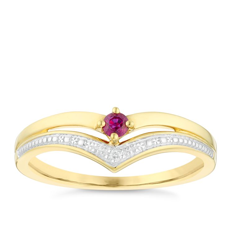 9ct Gold Ruby & Diamond Wishbone Ring - Product number 4727401