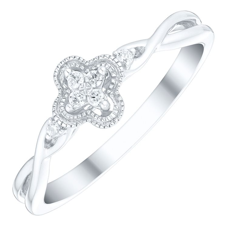 Cherished Argentium Silver Diamond Flower Cluster Ring - Product number 4728351