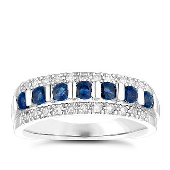 9ct White Gold Sapphire & 0.15 Carat Diamond Eternity Ring - Product number 4729307