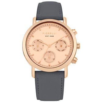 Fiorelli Ladies' Rose Gold Dial Grey Strap Watch - Product number 4729323