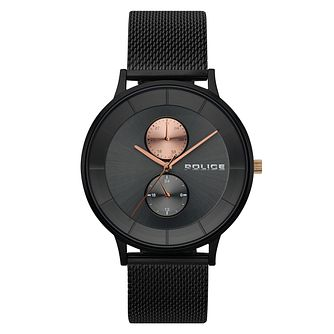 Police Men's Black Stainless Steel Mesh Strap Watch - Product number 4729919