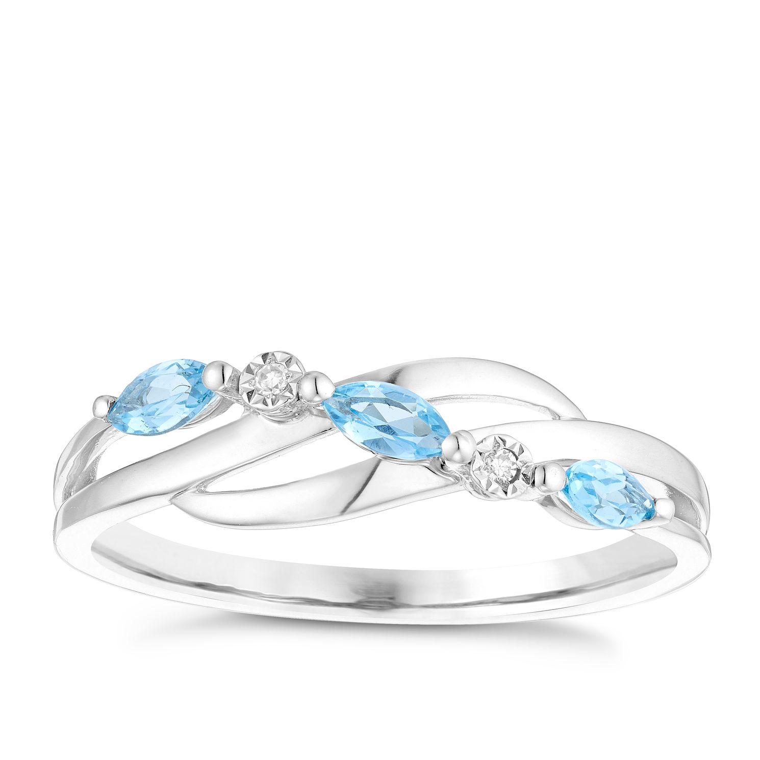 9ct White Gold Blue Topaz & Diamond Marquise Eternity Ring