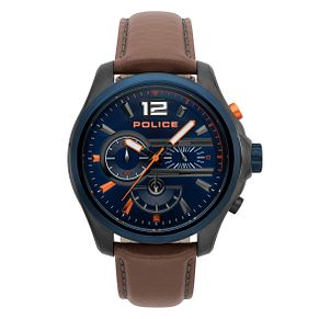 Police Men's Blue Dial Brown Leather Strap Watch - Product number 4729986