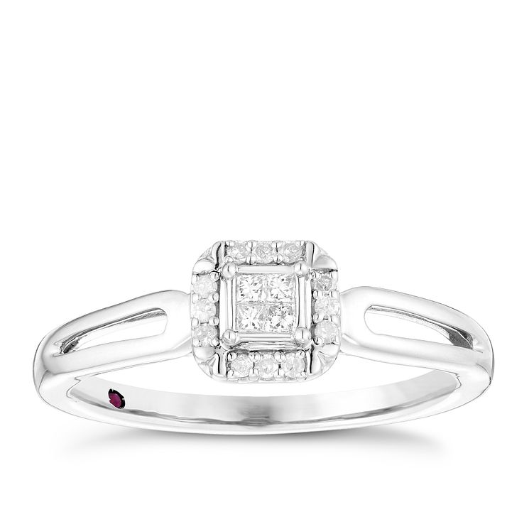 Cherished Argentium Silver Diamond Square Cluster Ring - Product number 4730720