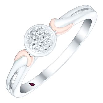 Cherished Argentium Silver & 9ct Rose Gold Diamond Ring - Product number 4731123