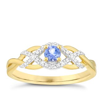 9ct Gold Tanzanite & Diamond Crossover Ring - Product number 4732693