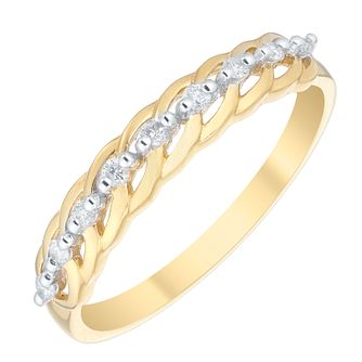 9ct Gold 0.10 Carat Diamond Twist Detail Eternity Ring - Product number 4734122