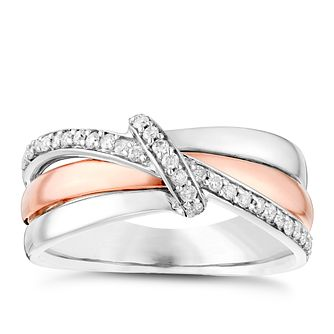 Silver & 9ct Rose Gold 0.16 Carat Diamond Eternity Ring - Product number 4735382