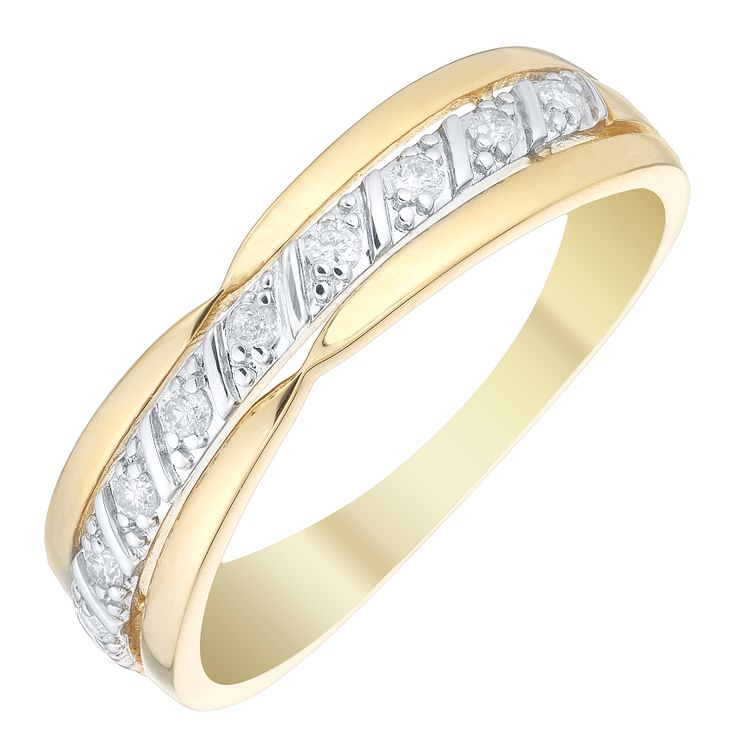 9ct Gold 0.10 Carat Diamond Central Twist Eternity Ring - Product number 4736575