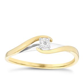 9ct Gold 2 Colour Diamond Solitaire Twist Ring - Product number 4737113