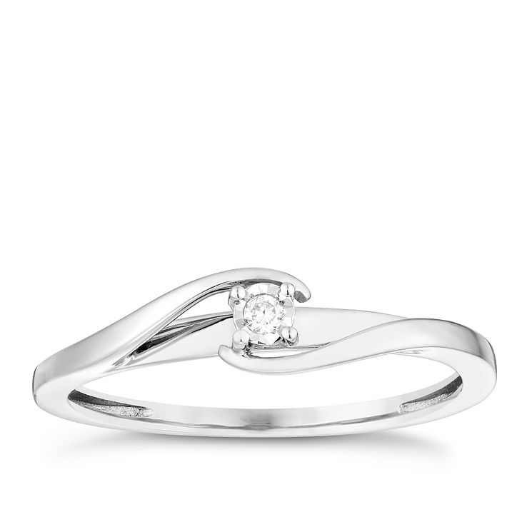 9ct White Gold Diamond Solitaire Ring - Product number 4738462