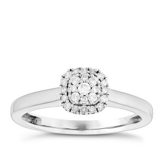 Sterling Silver 0.15 Carat Diamond Cluster Ring - Product number 4738829