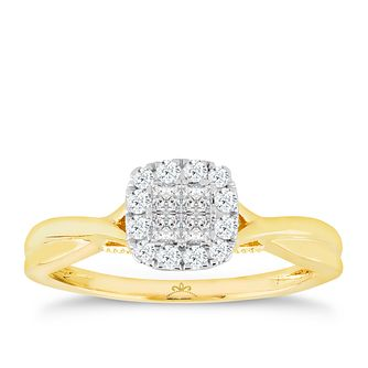9ct Gold 1/4 Carat Diamond Princessa Cluster Ring - Product number 4738969