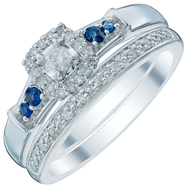9ct White Gold 0.15ct Sapphire Perfect Fit Bridal Set - Product number 4740602