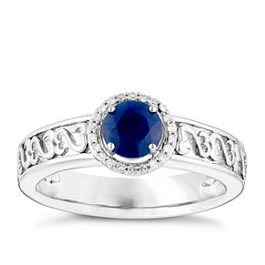 Open Hearts Silver Round Sapphire & Diamond Set Ring - Product number 4741315