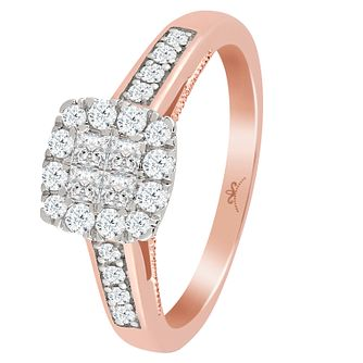 9ct Rose Gold 1 2ct Diamond Princessa Square Cluster Ring
