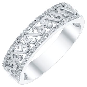 Open Hearts Silver 0.10 Carat Diamond Set Eternity Ring - Product number 4741722