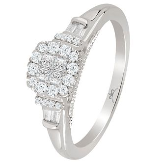 9ct White Gold 1/3 Carat Diamond Princessa Cluster Ring - Product number 4741994
