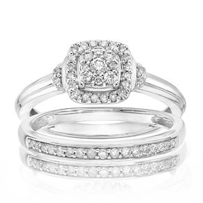 Argentium Silver 1/4ct Diamond Perfect Fit Bridal Set - Product number 4746643