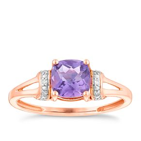 9ct Rose Gold Amethyst & Diamond Set Split Shoulder Ring - Product number 4746783