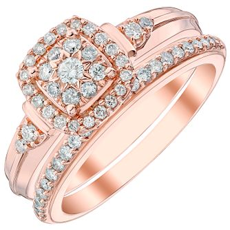 9ct Rose Gold 2/5ct Diamond Perfect Fit Bridal Set - Product number 4747089