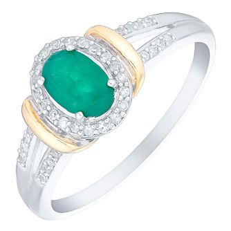 Sterling Silver & 9ct Gold Oval Emerald & Diamond Ring - Product number 4747623