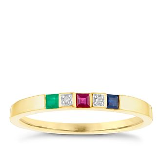9ct Gold Emerald, Ruby, Sapphire & Diamond Set Eternity Ring - Product number 4747798