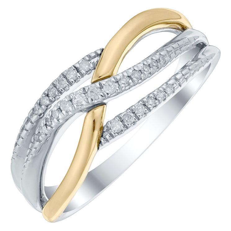 Sterling Silver & 9ct Gold 1/10 Carat Diamond Eternity Ring - Product number 4749987