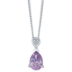 Sterling Silver Amethyst & Diamond Pear Shaped Pendant - Product number 4751507