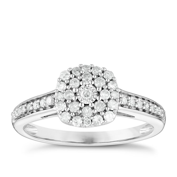 9ct White Gold 1/3 Carat Diamond Cluster Ring - Product number 4751515