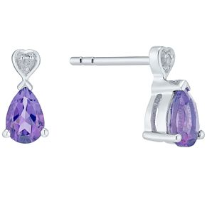 Sterling Silver Amethyst & Diamond Pear Shaped Earrings - Product number 4751809