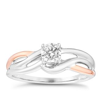 9ct Gold Two Colour 1/3 Carat Diamond Solitaire Ring - Product number 4752554