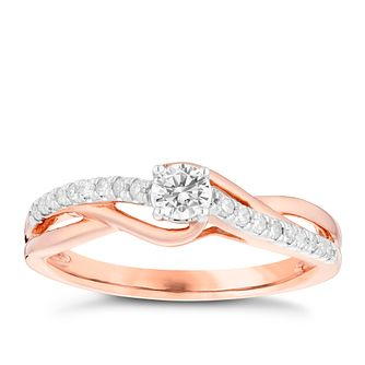 9ct Rose Gold 1/4 Carat Diamond Solitaire Ring - Product number 4752708