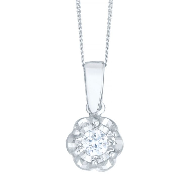 9ct White Gold 0.10ct Diamond Illusion Set Flower Pendant - Product number 4752880