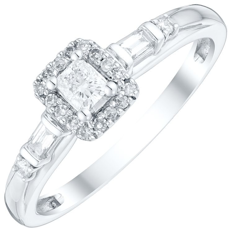 9ct White Gold 1/4 Carat Emerald Cut Diamond Solitaire Ring - Product number 4758501
