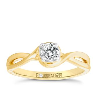 18ct Gold 1/3 Carat Forever Diamond Twist Ring - Product number 4759958