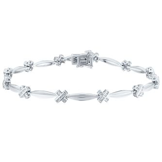 Sterling Silver 0.10 Carat Diamond Set Bracelet - Product number 4760522