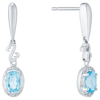 Open Hearts Silver Blue Topaz & Diamond Drop Earrings - Product number 4760557