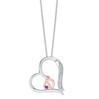 Silver & 9ct Rose Gold Diamond Set Initial D Pendant - Product number 4761359
