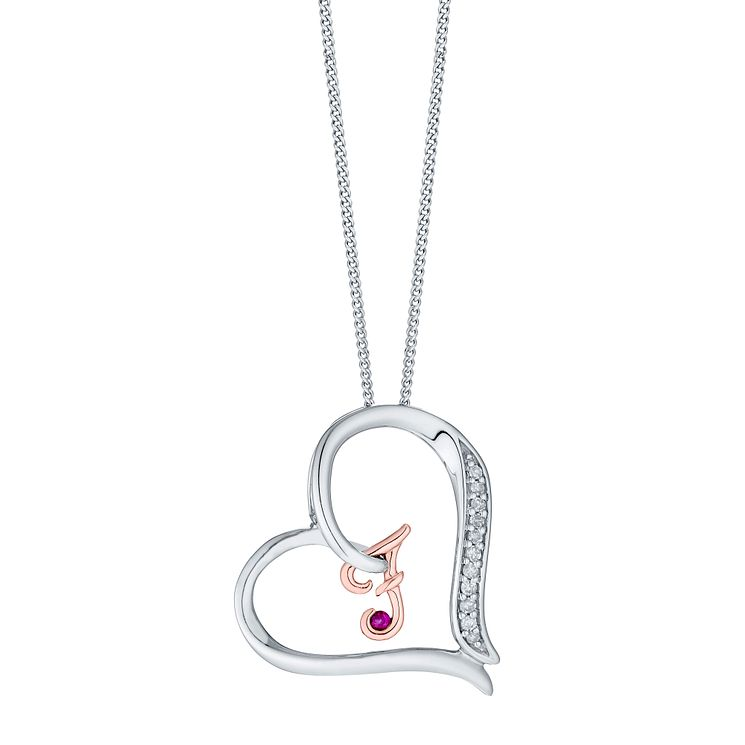 Silver & 9ct Rose Gold Diamond Set Initial F Pendant - Product number 4761480