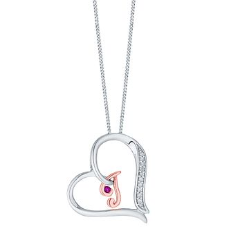 Silver & 9ct Rose Gold Diamond Set Initial I Pendant - Product number 4761529