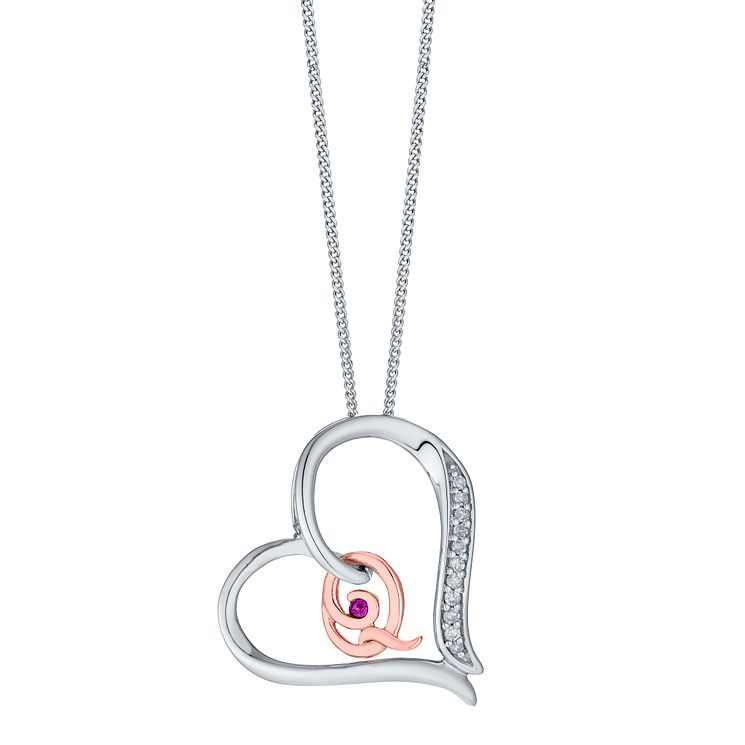 Silver & 9ct Rose Gold Diamond Set Initial Q Pendant - Product number 4761642
