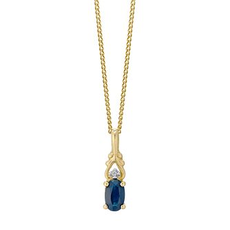 9ct Gold Oval Sapphire & Diamond Pendant - Product number 4761715